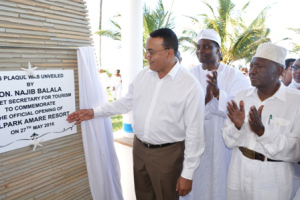 Officially Opened : Tourism CS Najib Balala officially opens Hill Park Amare Resort in Diani , Kwale with him (second right) is the proprietor Dr. Joe Wanjui