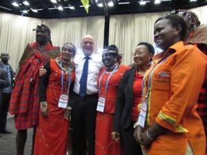 HAVING A CULTURAL FEEL : South African Tourism  Minister Derek Honekom (second left) and KTB A.g CEO, (extreme right) joins Kenya's cultural ambassadors as the first day of INDABA tourism fair in Durban.  The South African market is promising good tidings for Kenya  before end of the year.